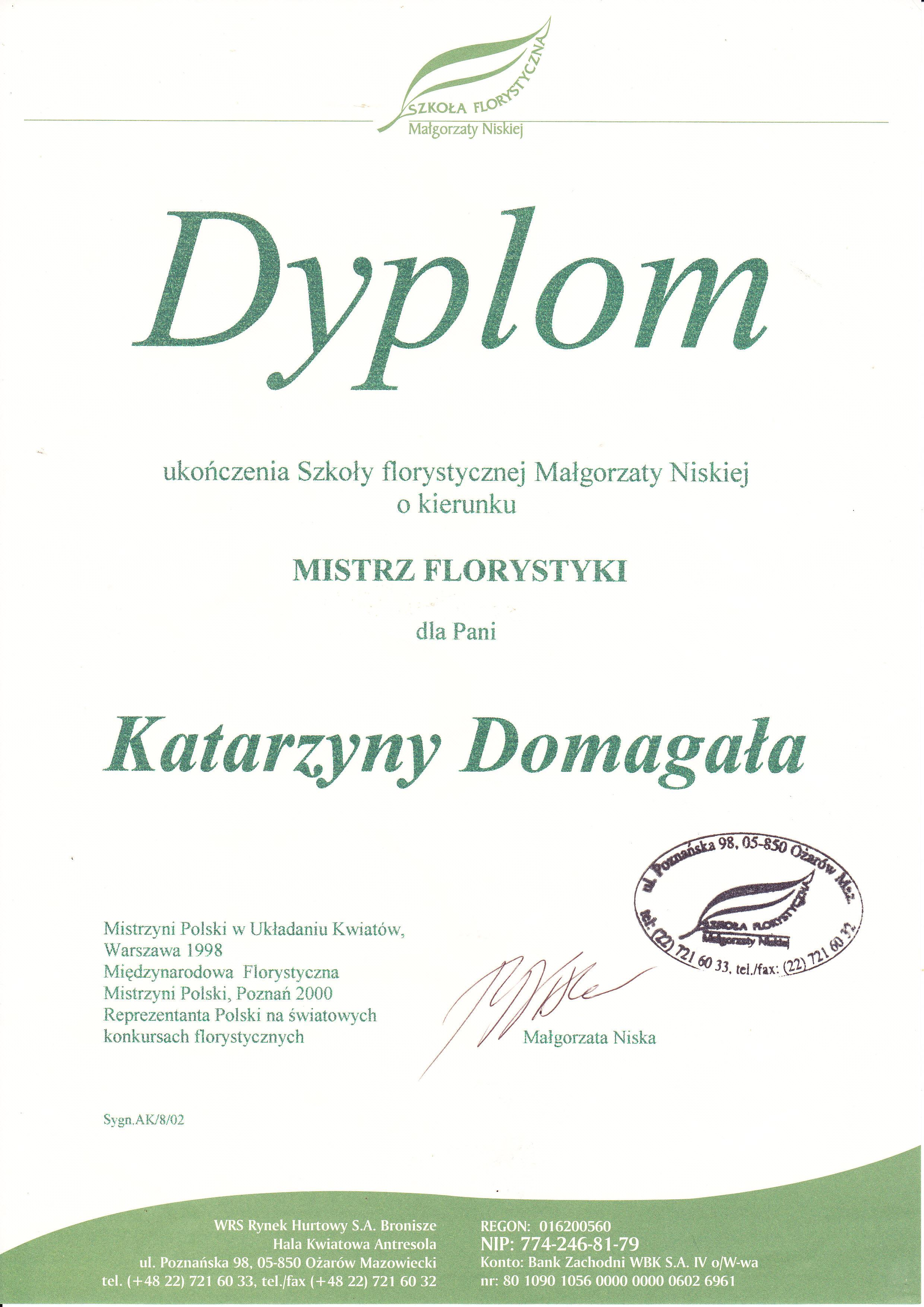 Dyplom Szkoły Florystycznej